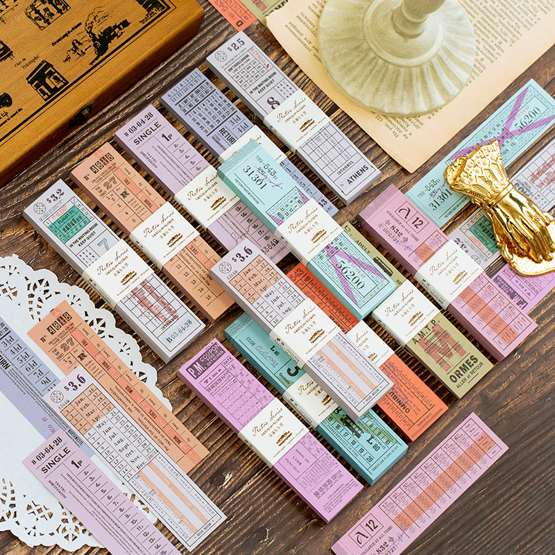 1set/lot Memo Pads Sticky Notes Antique Ticket Paper Notepad Diary Scrapbooking Stickers Office School Stationery Notepad