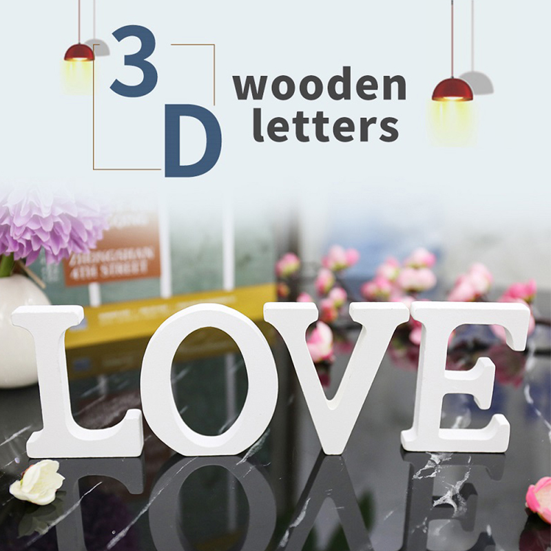 3D English Letters Wooden Wall Stickers Decorative Wood Words Name DIY Sticker For Wedding Birthday Party Decals 11cm Home Decor