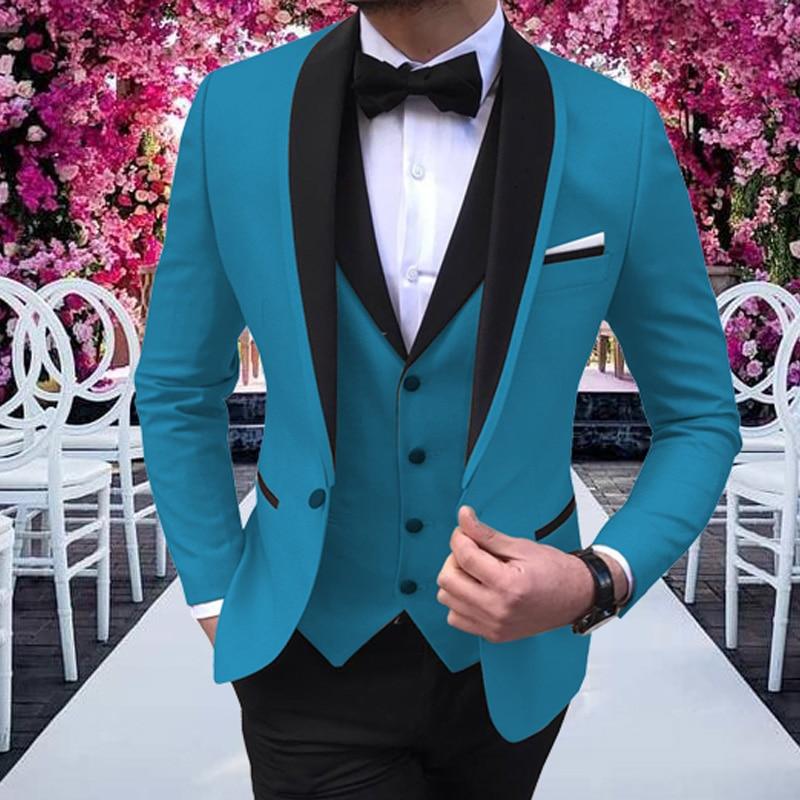 Mens Suits 3 Pieces Party Costume  Slim Fit Suits Classic Design Shawl Lapel Tuxedos Prom Suit Blazer & Pants & Vest For Wedding