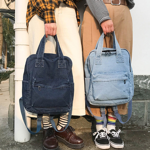 Image 1 - Denim School Bag Teenager Backpack Ladies High Capacity Women Backpacks 2019 Travel Bag Students Mochila Bolsa harajuku backpack
