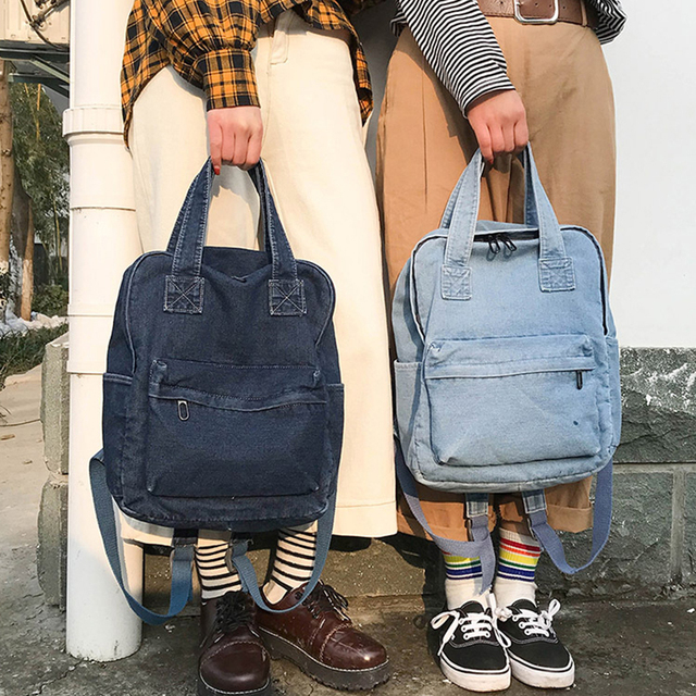 Denim School Bag Teenager Backpack Ladies High Capacity Women Backpacks 2019 Travel Bag Students Mochila Bolsa harajuku backpack