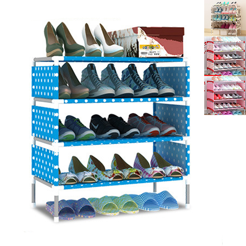 USA Stock Creative Five Layers Shoes Rack Simple DIY Assembly Shoes Organizer Shelf Non-woven Fabric Shoes Storage Shelves