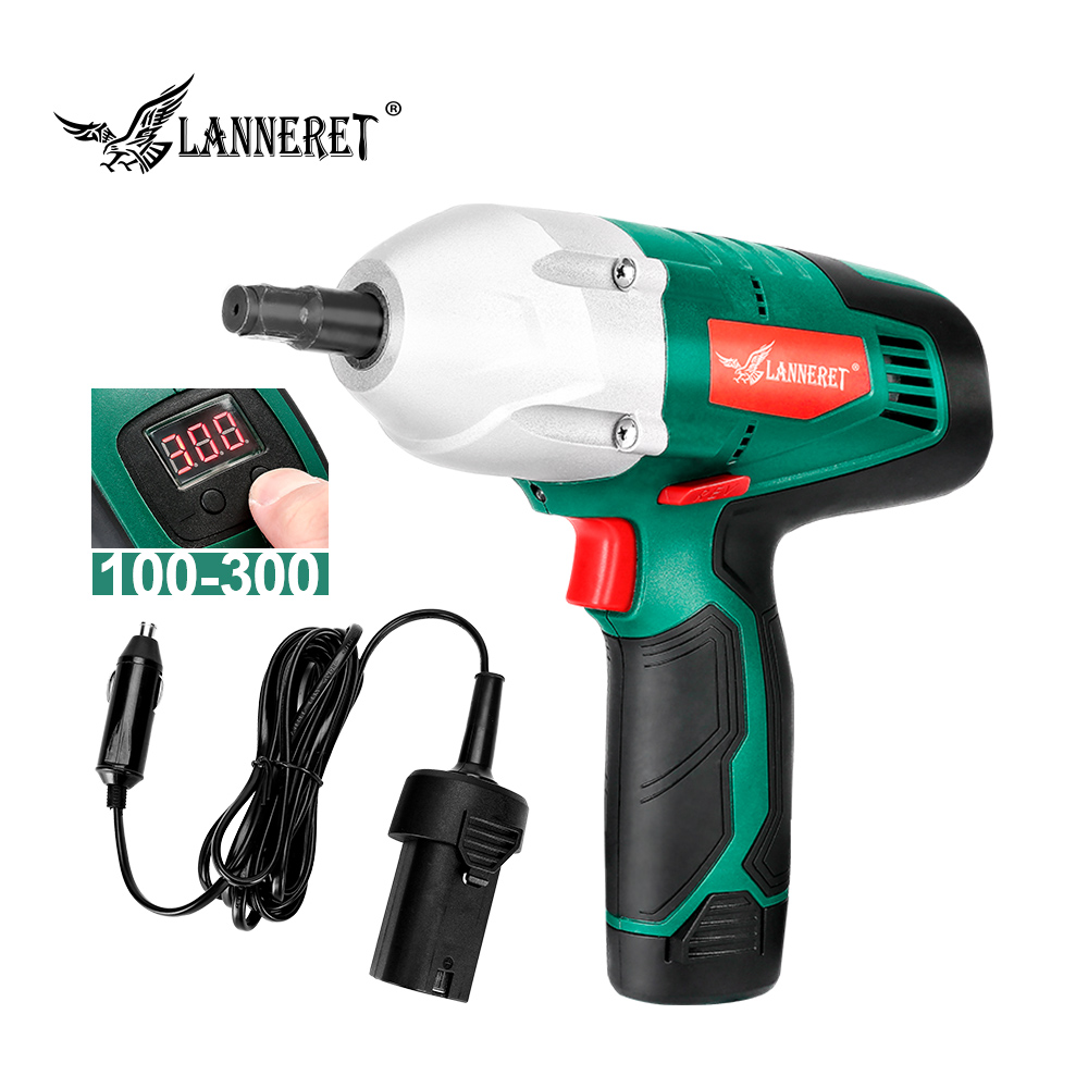 LANNERET Electric Wrench Impact Wrench Battery / Cigarette Lighter 12V  2in1 Car Repair 300N.m With Torque Digital Panel Wrench