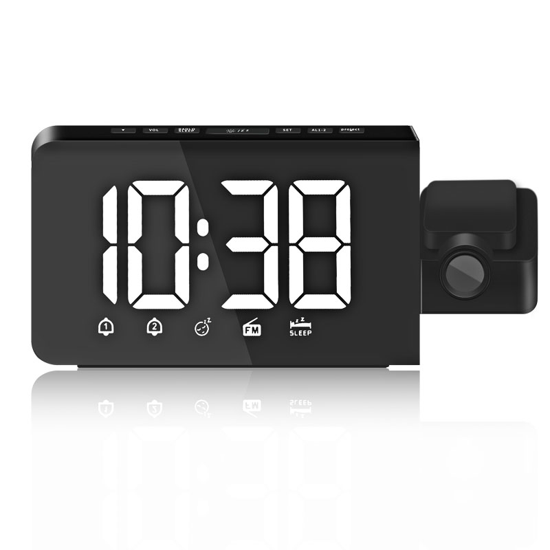Projection Alarm Clock Digital Radio Dual Alarm desk Clock Dimmable Ceiling Projection Large Display Snooze Function for bedroom