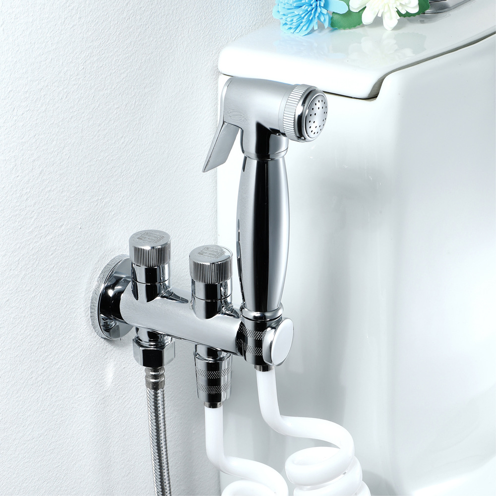 Hideep Health Faucet Spray Gun Set Chrome Brass Body Toilet Chamber Pot Flushing Tap HI09009D