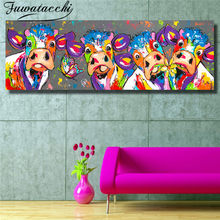 Abstract Canvas Oil Painting Painted Cow Print on Canvas Print and Poster Modern Art Wall Pictures for Living Room Cuadros(China)