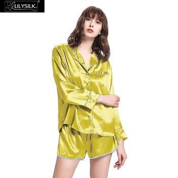 LilySilk 100 Silk Pajamas Shorts Set Women 22 momme Sleepwear Luxury With Trimming Stitch Sleep Lounge Free Shipping 1