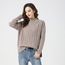 LHZSYY 2019Autumn Winter New Womens Half-High Collar 100%Pure Cashmere Sweater Fashion Wild Knit Thick Pullover Warm Large Size