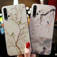 3D Blume Relief Fall Für Huawei Ehre 9S 9C 9A Y5P Y6P Y8P Y7P Kunst Fall für Huawei P40 pro plus Y8P EHRE 9C Schwarz Bumper Shell