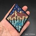 Landschaft Berg Patches Streifen für Kleidung Eisen Auf Abzeichen Bestickt DIY Bügeln Aufkleber UFO Nähen Kleidung Appliques