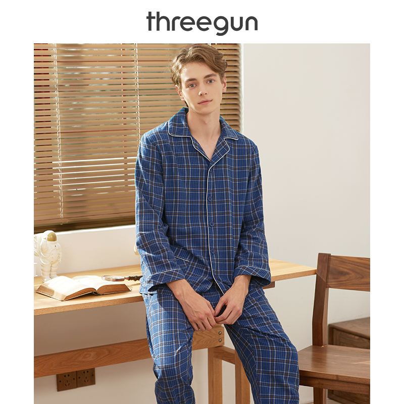 THREEGUN Pajamas Set Men And Women 2019New Autumn And Winter Cotton Warm Couple Home Wear Suit Turn-down Collar Casual Sleepwear