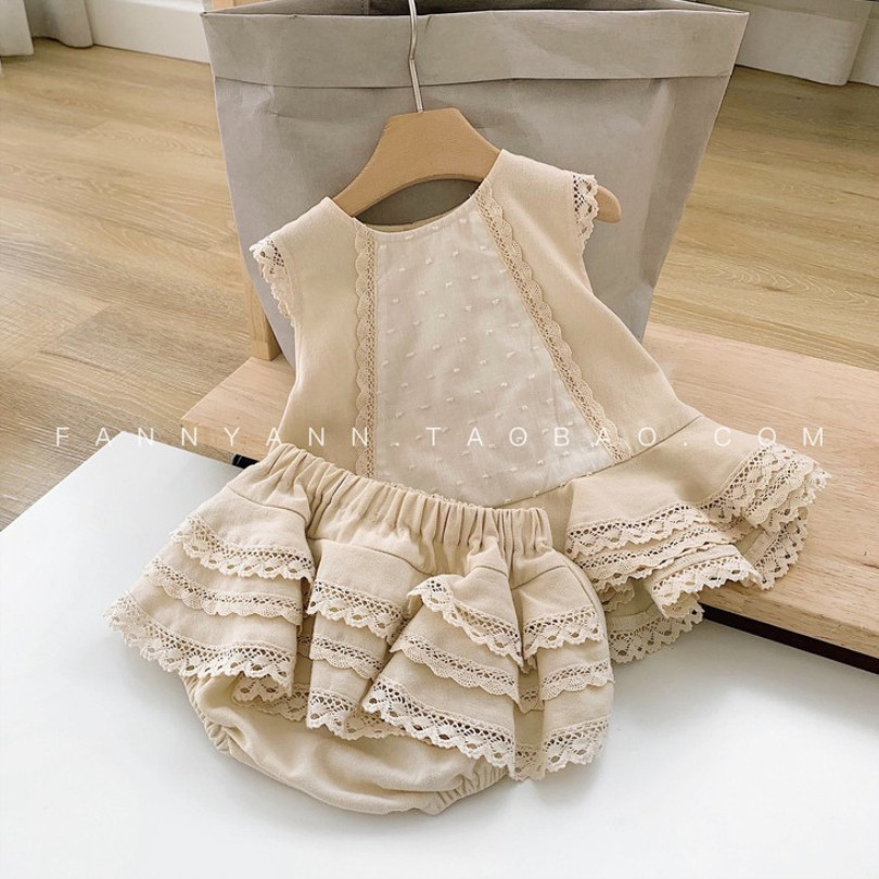 Baby Girl Clothes Set Lace Princess Baby Girl Clothing Set Sleeveless Shirt + shorts 2pcs Outfits Toddler Girl Clothes Outerwear