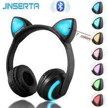 JINSERTA kablosuz Bluetooth kedi kulaklıklar yedi çeşit LED ışık yanıp sönen parlayan Cosplay fantezi kedi kulaklık hediyeler