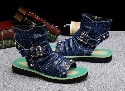 Summer New Style Leather Sandals And Slippers Rome Beach Open-toed Trend Europe And The United States Lazy Men's Shoes