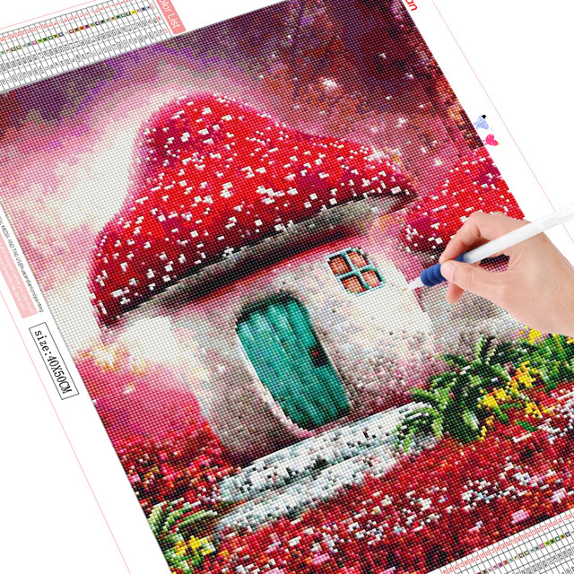 HUACAN Full Square Drill 5D DIY Diamond Painting Mushroom 3D Embroidery Cross Stitch Rhinestone Mosaic Decoration
