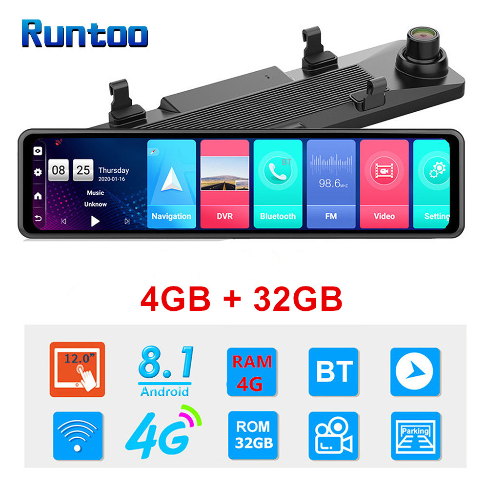 12 Inch 4G Android Rear View Mirror Dash Cam Auto Video Recorder ADAS GPS Navigation Wifi Dual Lens Full HD 1080P Car DVR Camera