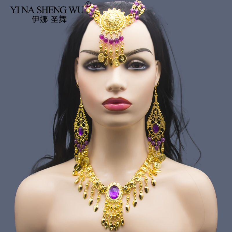 3Pcs//Set Women Ethnic Necklace Earrings for Belly Dance Costume Accessories Gold