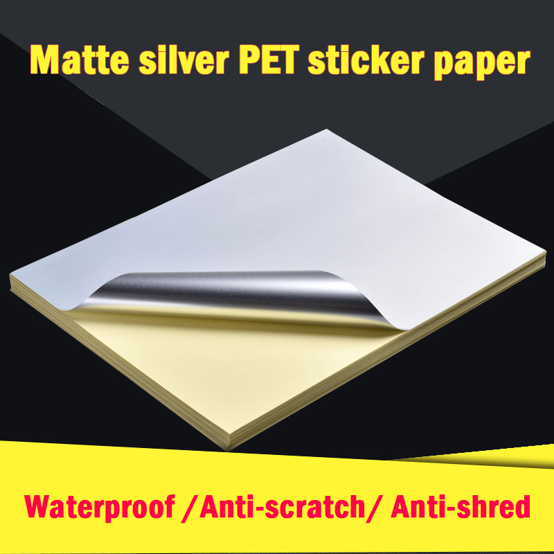 A4 Matte Silver Sticker Printing Paper PET UV Coating Label Waterproof Scratch-resistant Heat safe Inkjet Laser Printer