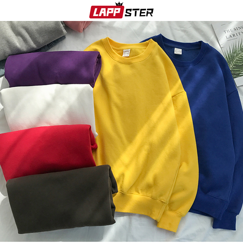 LAPPSTER Men Japanese Streetwear Solid Hoodies 2020 Fall Hip Hop Korean Sweatshirts Hoodies Velvet Colorful Clothing Plus Size