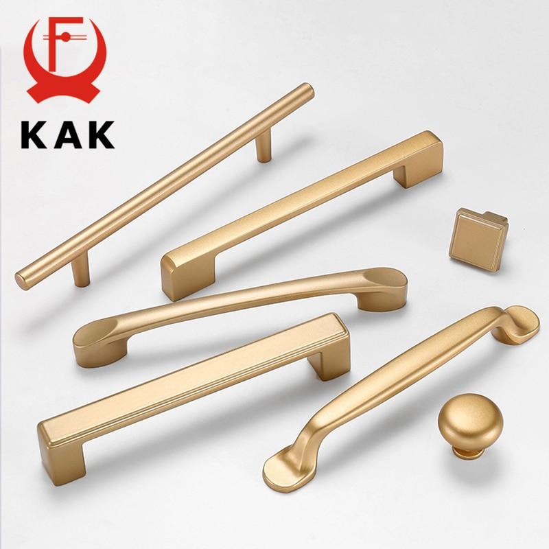 KAK European Style Matte Gold Cabinet Handles Solid Aluminum Alloy Kitchen Cupboard Pulls Drawer Knobs Furniture Handle Hardware