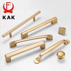 KAK European Style Matte Gold Cabinet Handles Solid Aluminum Alloy Kitchen Cupboard Pulls Drawer Knobs Furniture Handle Hardware(China)