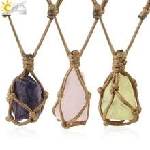 CSJA naszyjnik z naturalnego kamienia liny nieregularne kryształowe uzdrawianie kwarcem wisiorek naszyjniki regulowane kobiety biżuteria w stylu Vintage G317