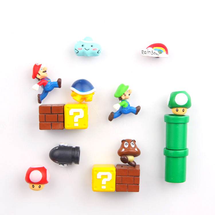 10pcs/set 3D Super Mario Bros Fridge Magnets Refrigerator Magnet Message Sticker Adult Man Girl Boy Kids Children Birthday Gift