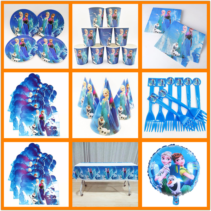 Disney Princess Frozen Anna Elsa Birthday Party Decorations Supplies Kids Tableware Tablecloth Cups Banner Girl Favors Gifts Set