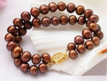Gold Clasp 2 Rows AAA 8-9mm South Sea Chocolate Pearl Bracelet 7.5-8 Inch(China)