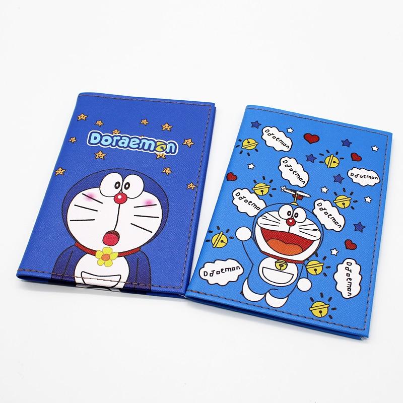 Cartoon Doraemon Passport Holder Women Travel Accessories PVC Leather ID Credit Card Cover Holder Students Travel Passport Cover