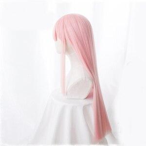 Image 4 - Anime sevgilim FRANXX içinde 02 Cosplay peruk sıfır iki peruk 100cm uzun pembe sentetik saç peruk Cosplay peruk + peruk kap + saç tokası