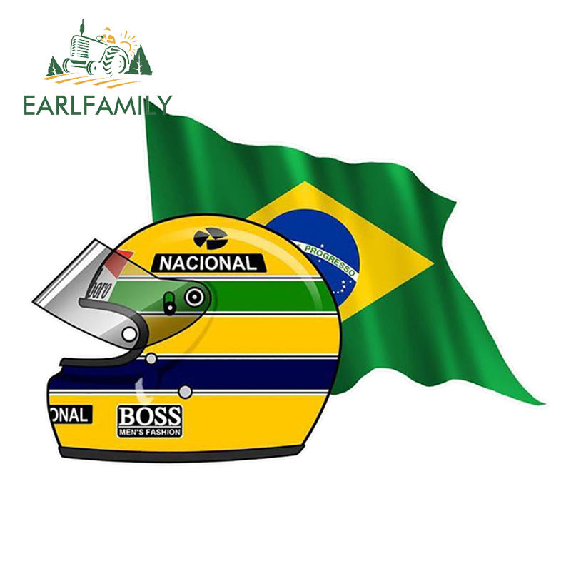 EARLFAMILY 13cm X 9.3cm Ayrton SENNA FLAG BRAZIL Helmet Left Sticker Funny Car Styling Vinyl Decals Bumper Window Car Stickers