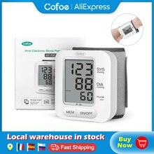 Cofoe Monitor Digital de presión arterial para muñeca, esfigmomanómetro automático, tonómetro de presión arterial, frecuencia cardíaca, para el cuidado de la salud