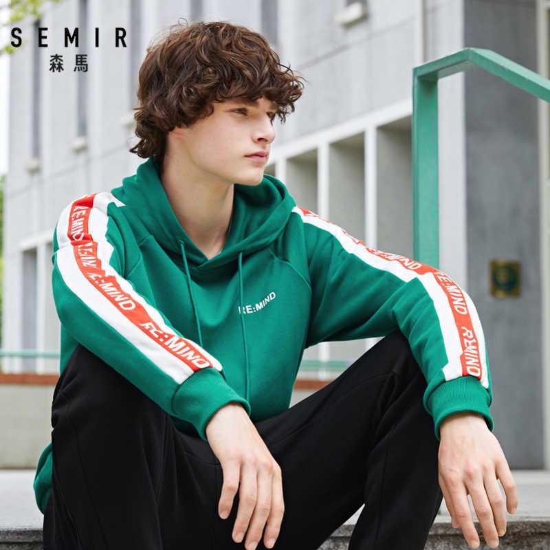 SEMIR 2019 가을 흰색 후드 남성 큰 주머니 거리 겨울 패션 캐주얼 힙합 의류 까마귀 풀오버 Hoody 남성