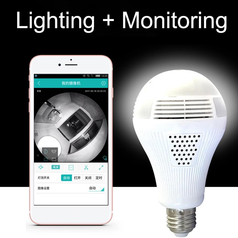E27 Full HD 360 Degree Panoramic Bulb IP Camera LED Light Home Security Lamp Panoramic Bulb Camera Smart Home
