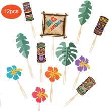 Itens para decoração de festas tiki, toppers para festas, decoração de bolo, aloha, verão, flamingo, luau, praia tropical, aniversário, suprimentos de mesa