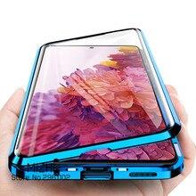 360 двухсторонний стеклянный чехол для Samsung Galaxy S20 FE Магнитная металлическая задняя крышка для Samsung S 20 FE S20FE чехол для телефона Fundas