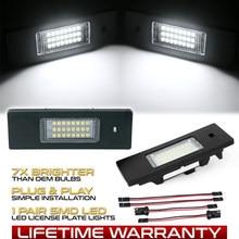 2 pces conduziu a luz da placa do número de licença nenhum erro 24smd lâmpadas carro para bmw série 1 e81 e87 e87n f20 f21 fonte de luz do carro