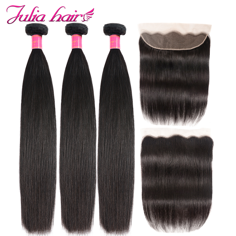 Ali Julia 100% Brazilian Straight Human Hair Lace Frontal Closure With 3 Bundles 13*4 Pre Plucked Frontal Natural Color Remy