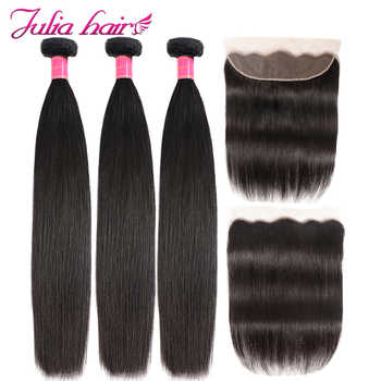 Ali Julia 100% Brazilian Straight Human Hair Lace Frontal Closure With 3 Bundles 13*4 Pre Plucked Frontal Natural Color Remy - DISCOUNT ITEM  33% OFF All Category