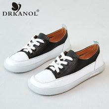 DRKANOL Fashion Women Flat Shoes Genuine Leather Round Toe Lace Up Sneakers Soft Bottom Mixed Colors Women Casual Shoes Size 41(China)