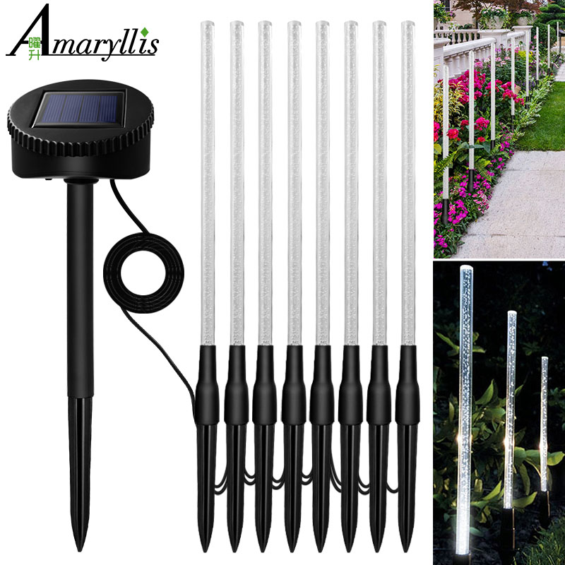 LED Bubble Solar Tube Stake Lights Garden Stick Light One For Five Transparent Acrylic Bubble Garden Lighting For Outdoor Road