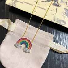 Pure 925 Sterling Silver Jewelry For Women Hot Charm Silver Pendants Rainbow Necklace Luxcy Necklace Gold Color Chain Rainbow(China)