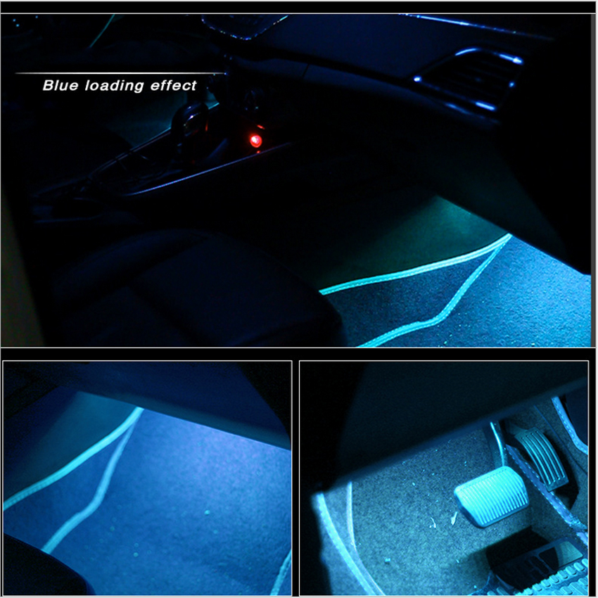 2 Car decoration lights, car atmosphere lights, foot sole atmosphere lights, LED colorful sound control music rhythm decoration lights