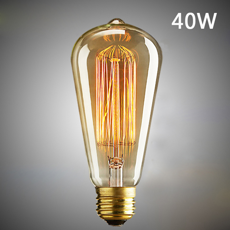 1 Piece ST64 Antique Industrial Style Lamp Light Bulb E27 Vintage Retro Filament Edison Incandescent Bulbs
