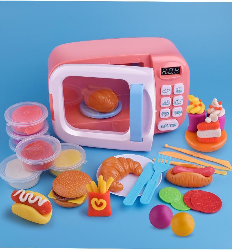 Children Kitchen Toys Simulation Microwave Oven Toys Fun Pretend Toys Set Children Girls Kids Education Toy Gift