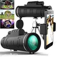 Telescopio Monocular portátil HD 40x60 + Clip para teléfono + trípode visión diurna/nocturna Zoom óptico HD lente para caza al aire libre
