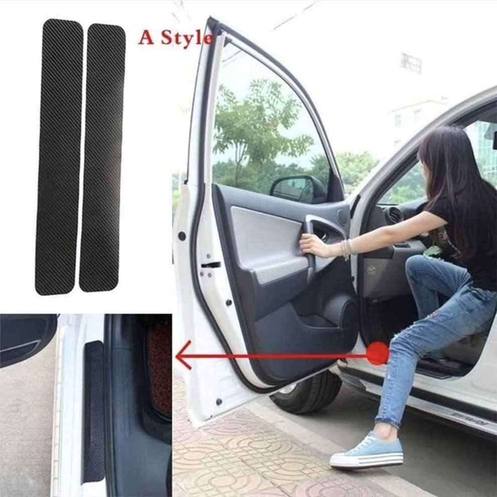 Universal 3D/4D umbral del coche de fibra de carbono placa de la puerta Anti-Kicking Scratch protección del coche pegatina tira de fibra de carbono película de fibra