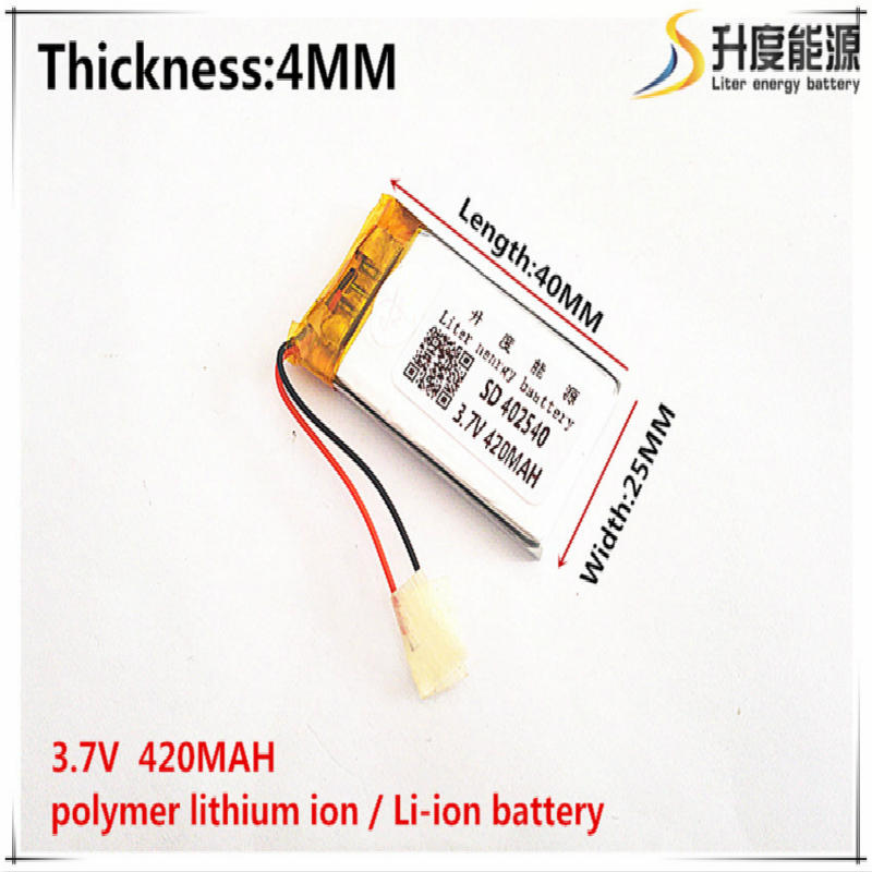 1pcs [SD] 3.7V,420mAH,[<font><b>402540</b></font>] Polymer lithium ion / Li-ion battery for TOY,POWER BANK,GPS,mp3,mp4,cell phone,speaker image