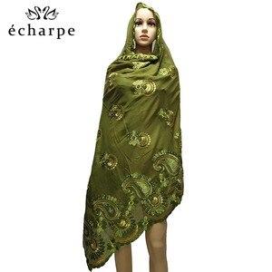 Image 2 - Latest African Women 100% Cotton Scarf Muslim Women Hijab Scarfs Big size Cotton Scarf for Shawls Pray shawls